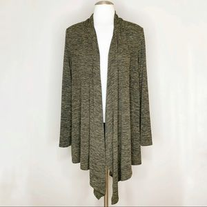 Express One Eleven Green Open Front Cardigan Large